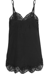 Dolce And Gabbana Lace Trimmed Silk Blend Satin Camisole Black