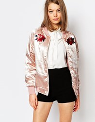 Sister Jane Satin Bomber Jacket With Poppy Patches Nude Pink
