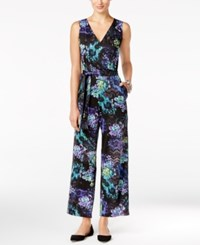 Ny Collection Petite Belted Floral Print Wide Leg Jumpsuit Lilac Alkanna