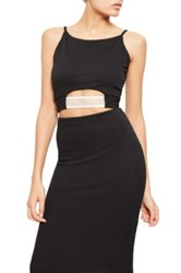Missguided Elastic Contrast Cutout Crop Top Black