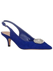 Phase Eight Issy Suede Detachable Trim Kitten Heels Blue