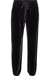 Current Elliott Cropped Velvet Track Pants Black