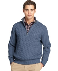 Izod Big And Tall Cable Knit Quarter Zip Sweater Dutch Blue