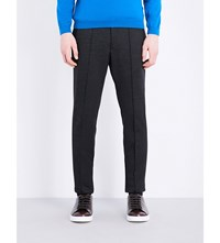 Hugo Boss Slim Fit Tapered Stretch Wool Trousers Charcoal