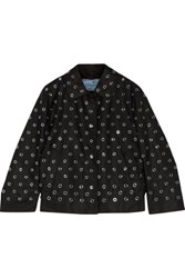 Prada Eyelet Embellished Shell Jacket Black