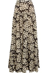 Chloe Printed Cotton And Wool Blend Maxi Skirt Charcoal
