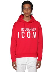 Dsquared Printed Icon Logo Cotton Jersey Hoodie Red
