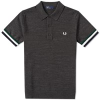 Fred Perry Stripe Cuff Knitted Polo Grey
