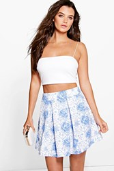 Boohoo Porcelain Blue Box Pleat Scuba Skater Skirt Blue