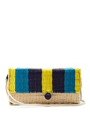 Sophie Anderson Romina Toquilla Straw Cross Body Body Blue Multi