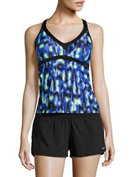 Nike Abstract Racerback Sport Tankini Top Blue