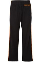 House Of Holland Woman Missy Velvet Trimmed Jersey Track Pants Black