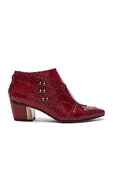 Rodarte Embossed Studded Leather Booties In Animal Print Red Animal Print Red