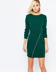The Laden Showroom X Meekat Shift Dress With Zip Skirt Green