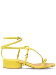 Salvatore Ferragamo 30Mm Egadi Leather Sandals Lime Green