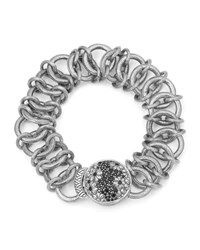 Stephen Dweck Engraved Chain Bracelet With Black Spinel