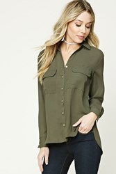 Forever 21 Button Down High Low Top Olive