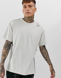 Religion Oversized T Shirt With Stitch Detail In Cream Black