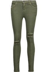 Current Elliott The Stiletto Mid Rise Distressed Skinny Jeans Army Green