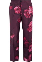 F.R.S For Restless Sleepers Floral Print Silk Twill Pants Purple