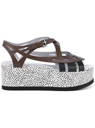 Pollini Dotted Platform Sandals Women Leather Rubber 40 Brown