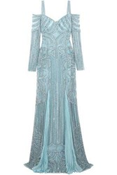 Zuhair Murad Embellished Silk Blend Lace And Tulle Gown Grey Green