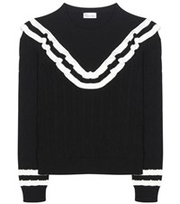 Red Valentino Knitted Cotton Sweater Black