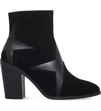 Kg By Kurt Geiger Skywalk Leather And Suede Star Ankle Boots Black