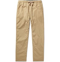 Remi Relief Slim Fit Tapered Reversible Pleated Shell Drawstring Trousers Neutrals