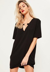 Missguided Black Oversized Metal Ring Detail Short Sleeve Dress