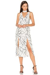 Lavish Alice Monochrome Cracked Midi Dress White