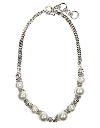 Givenchy Silvertone Toggle Necklace With Faux Pearls And Crystal Accents Pearl Silver