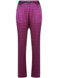Fleur Du Mal Houndstooth Tailored Trousers Purple