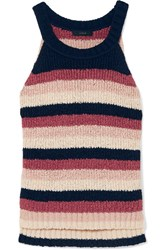 J.Crew Striped Cotton Blend Tank Pink