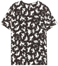 Saint Laurent Printed Cut Out Shoulder Blouse Black