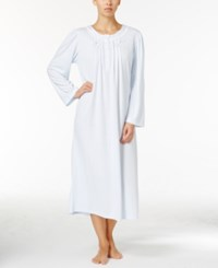 Miss Elaine Pleated Textured Knit Nightgown Blue