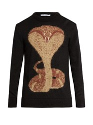 Givenchy Cobra Intarsia Mohair Blend Sweater Black