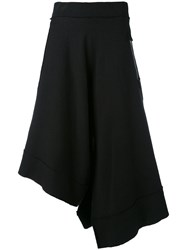 Y's Asymmetric Cropped Trousers Women Cotton 2 Black