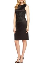 Alex Evenings Mixed Media Sheath Dress Black