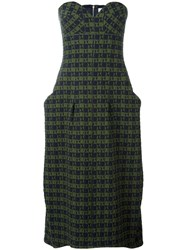 Victoria Beckham Bustier Drape Midi Dress Green