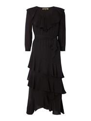 Biba Ruffle Tiered Tie Waist Midi Dress Black
