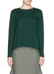 Sacai Heart Print Voile Back Cotton Cashmere Sweater Green