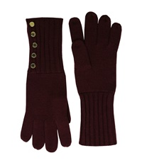 Michael Michael Kors Fisherman Stitch Button Glove Merlot Polished Gold Extreme Cold Weather Gloves Red