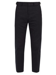 Burberry Tailored Cotton Blend Trousers Navy