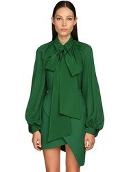 Elie Saab Silk Georgette Blouse Green