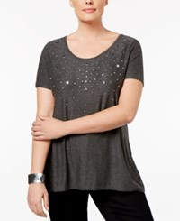 Belldini Plus Size Embellished Top Heather Charcoal