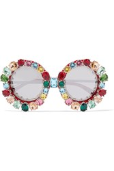 Dolce And Gabbana Crystal Embellished Round Frame Acetate Metal Mirrored Sunglasses One Size