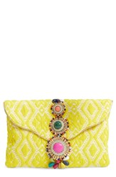 Steve Madden Steven By Beaded And Embroidered Clutch Yellow
