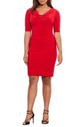 Lauren Ralph Lauren Plus Size Women's Side Pleat Jersey Cowl Neck Dress
