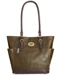 Tignanello Vintage Leather Status Tote Hunter
